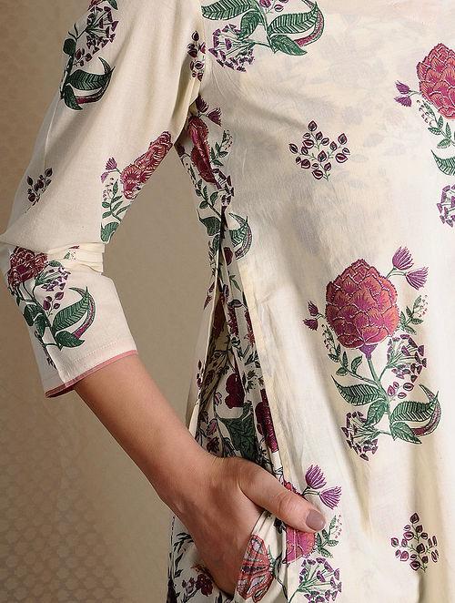 Ivory-Pink Printed Cotton Layered Kurta