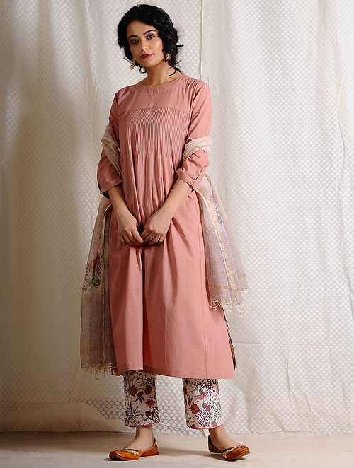 Pink Pintuck Cotton Kurta with Pockets