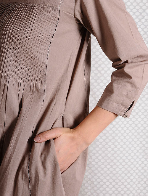Brown Pintuck Cotton Kurta with Pockets