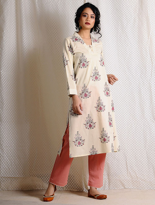 Ivory-Pink Printed Cotton Kurta