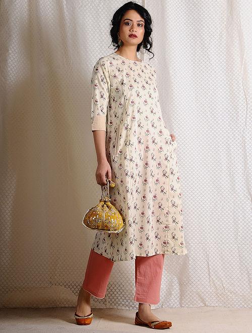 Ivory-Pink Printed Cotton Kurta with Pockets