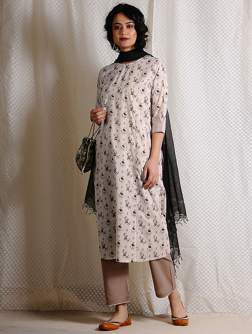 Ivory-Brown Printed Cotton Kurta with Pockets
