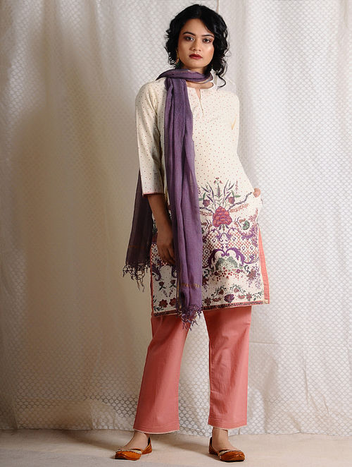 Ivory-Pink Printed Cotton Tunic with Pockets