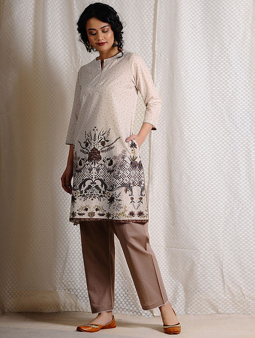 Ivory-Brown Printed Cotton Tunic with Pockets