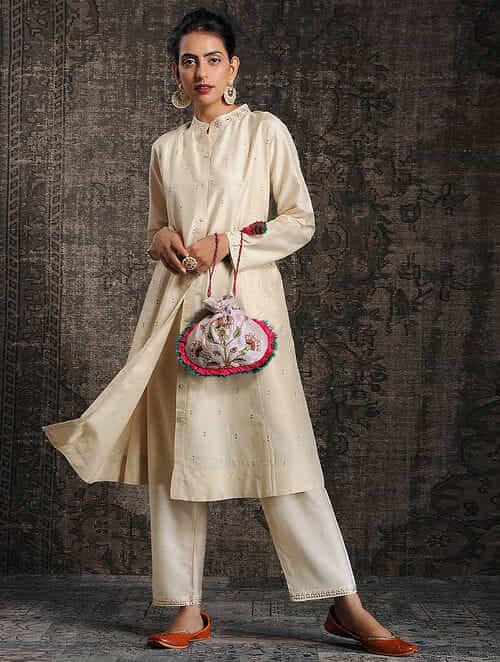Ivory Tussar Munga Silk Kurta with Embellishment