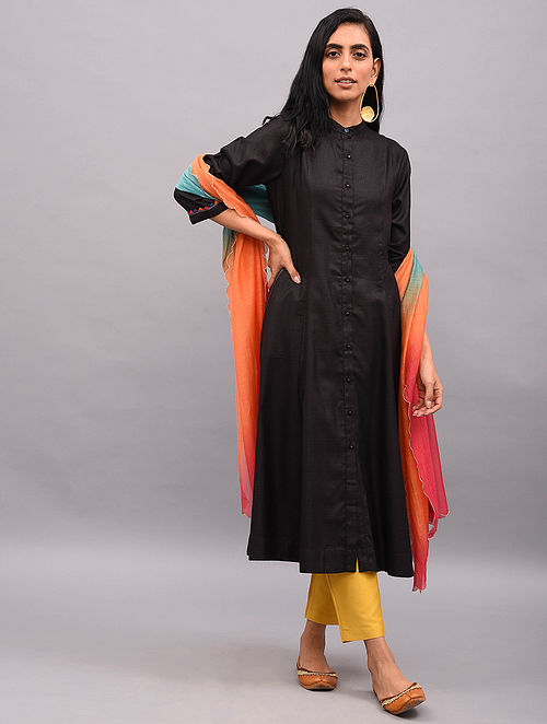 BUSR - Black Button-down Tussar Cotton Kurta with Sleeve Detailing and Pockets