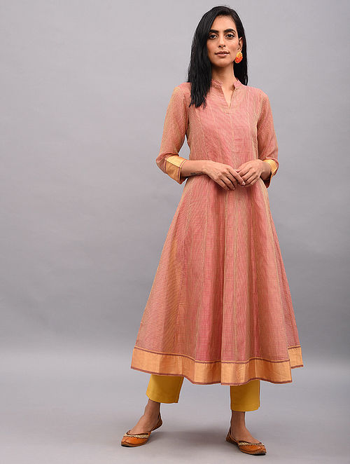 RAWEEHA - Pink Handloom Maheshwari Kalidar Kurta with Zari Border (Set of 2)