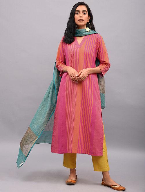 MAHIYA - Pink Cotton Kurta with Pockets
