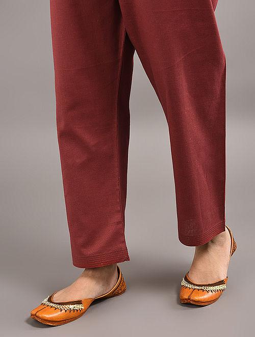Maroon Tie-up Wait Cotton Pants