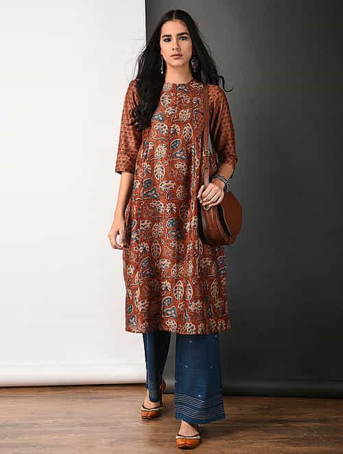 Rust Ajrakh-printed Silk Cotton Kurta with Gathers