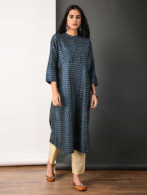 Indigo Ajrakh-printed Silk Cotton Kurta with Pleats
