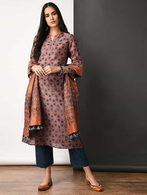 Rust Ajrakh-printed Silk Cotton Kurta with Pockets