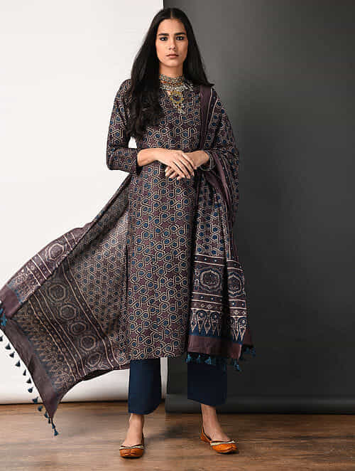 Purple Ajrakh-printed Silk Cotton Kurta with Pockets