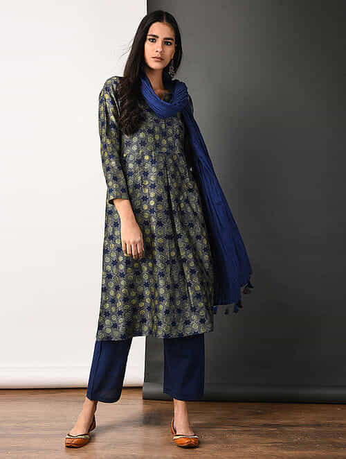 Indigo Ajrakh-printed Silk Cotton Kurta with Pockets