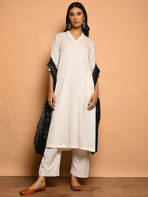 Ivory Cotton Slub Kurta with Pockets