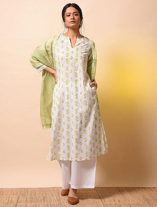 PANNA DAI - Ivory-Green Khari Block-printed Cotton Mul Kurta