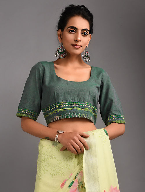 Green Hand-embroidered Handloom Cotton Blouse with Tassels