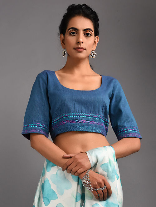 e5466d47b0380 Blue Hand-embroidered Handloom Cotton Blouse with Tassels The Jaypore Label