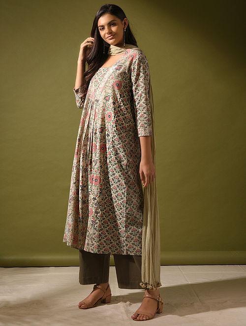 SHAADAAB - Green-Pink Cotton Dobby Kurta