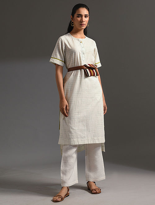 PALASH - White-Yellow Handloom Bengal Cotton Kurta with Handwork