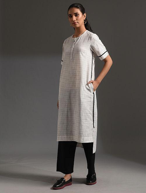 PILKHAN - White-Black Handloom Bengal Cotton Kurta with Handwork