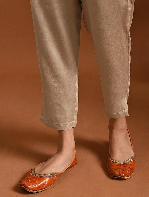 UBHAYA BHARTI - Beige Elasticated Waist Modal Pants