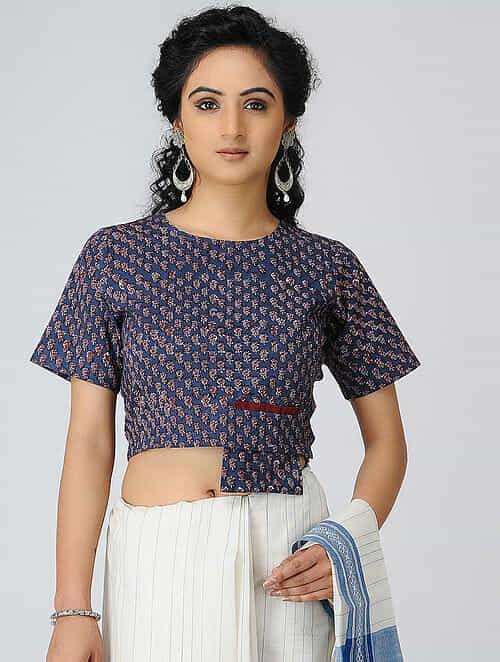 455a4dbc0a4e3 Buy Indigo-Madder Block-printed Cotton Blouse Online at Jaypore.com