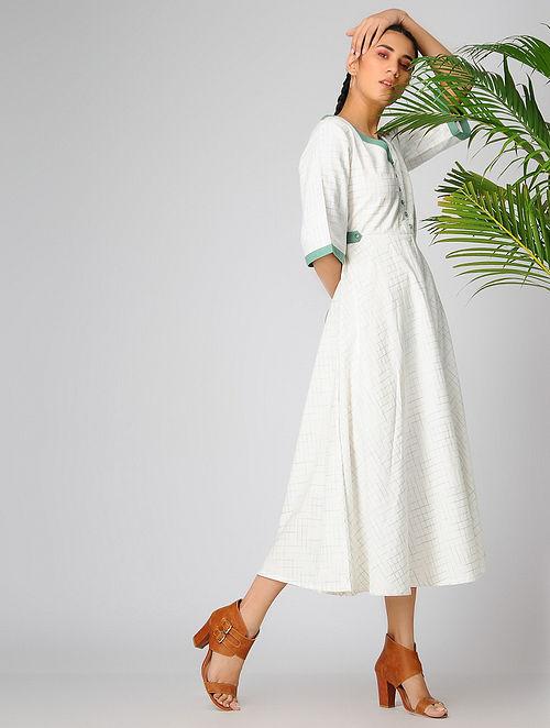 Ivory-Green Cotton Khadi Kurta