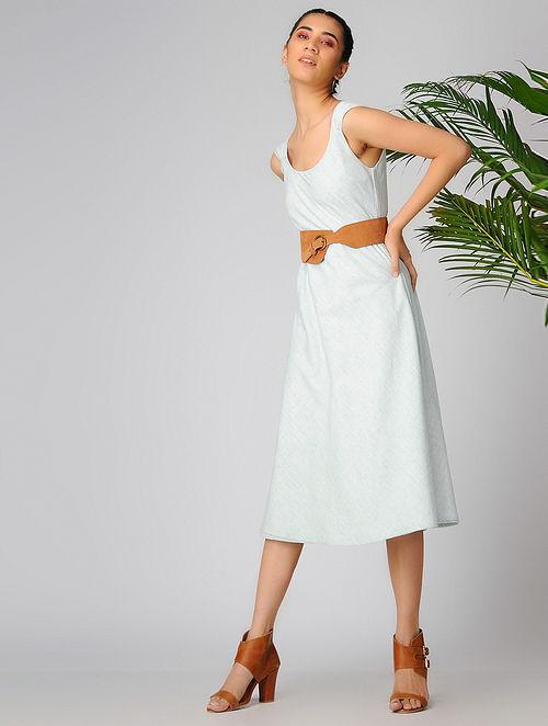 Ivory-Green Reversible Cotton Khadi Dress