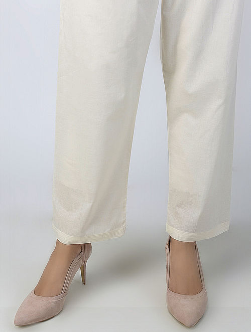 Ivory Tie-up Waist Cotton Pants
