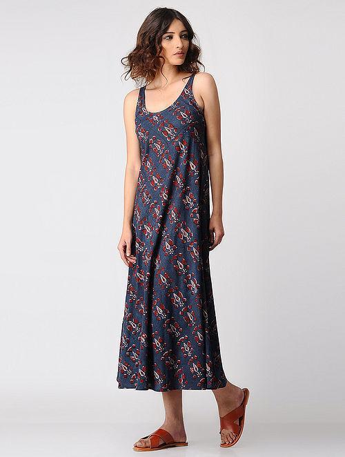 64cc32b42e0 Buy Indigo-Madder Natural-dyed Ajrakh Cotton Dress by Jaypore ...