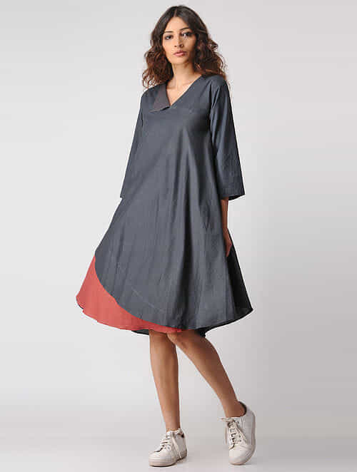 Charcoal-Madder Natural-dyed Cotton Dress by Jaypore