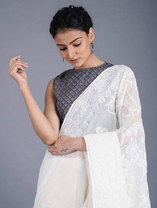 Indigo Fadat-printed Cotton Blouse
