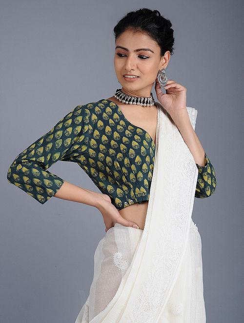 Green Ajrakh-printed Cotton Blouse
