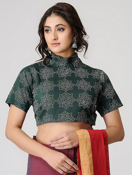 Green Block-printed Cotton Blouse by Jaypore