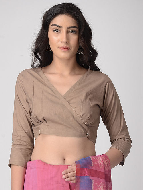 Beige Natural-dyed Cotton Blouse