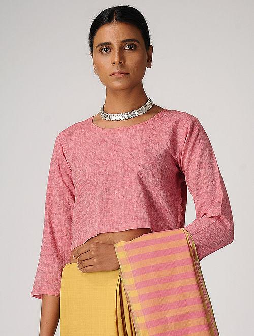 874ddc2069288 Buy Pink Handloom Cotton Blouse by Jaypore Online at Jaypore.com