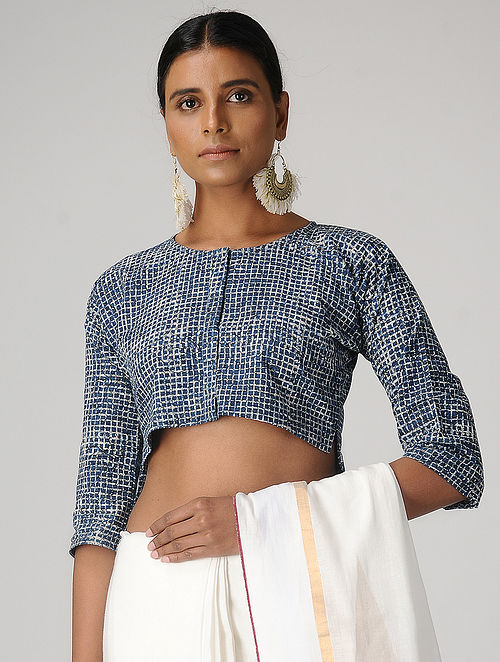 Indigo Dabu-printed Cotton Blouse by Jaypore