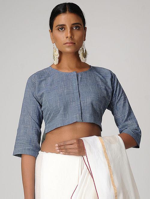 bada54ed39f30 Buy Blue Handloom Cotton Blouse by Jaypore Online at Jaypore.com