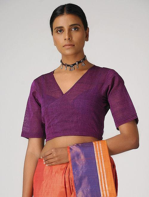 Purple Handloom Cotton Wrap Blouse by Jaypore