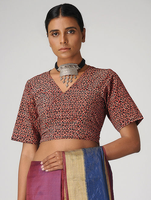 Maroon Ajrakh-printed Cotton Wrap Blouse by Jaypore