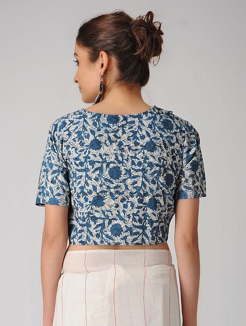 fd51dca87354b Buy Indigo-Ivory Dabu-printed Cotton Blouse Online at Jaypore.com
