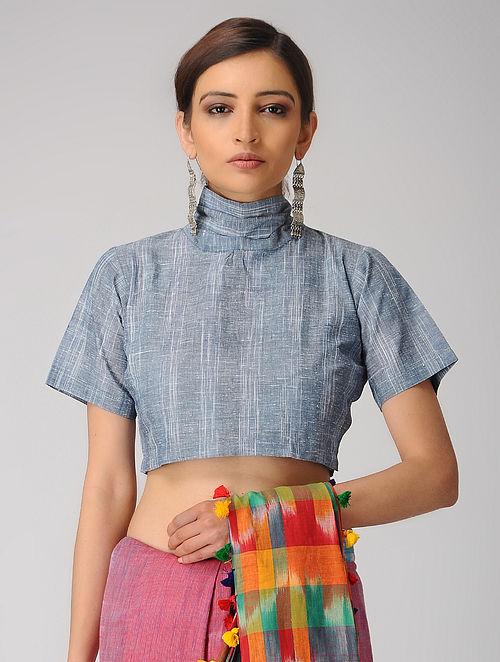 Indigo-Ivory Handloom Cotton Tie-up Blouse