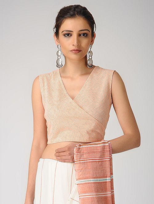 Ivory-Orange Cotton Blouse