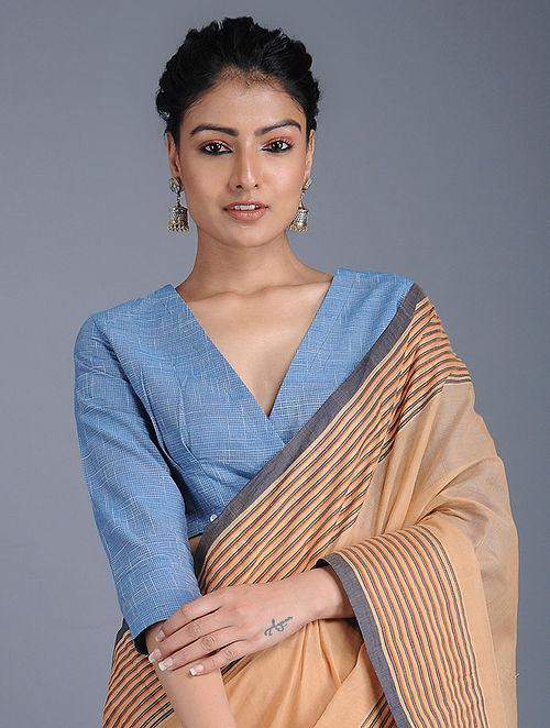 c61c7b7a897b3 Buy Blue Handloom Cotton Blouse Online at Jaypore.com