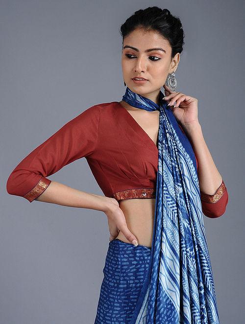 38cdfd98d27618 Buy Maroon Handloom Cotton Blouse with Zari Online at Jaypore.com