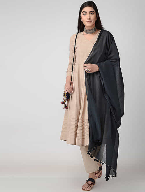 Black Handloom Cotton Dupatta with Tassels