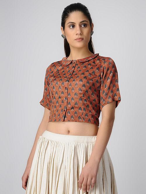 fb5e4418f83b3 Buy Rust-Indigo Peterpan Collar Ajrakh Gajji Silk Blouse by Jaypore ...