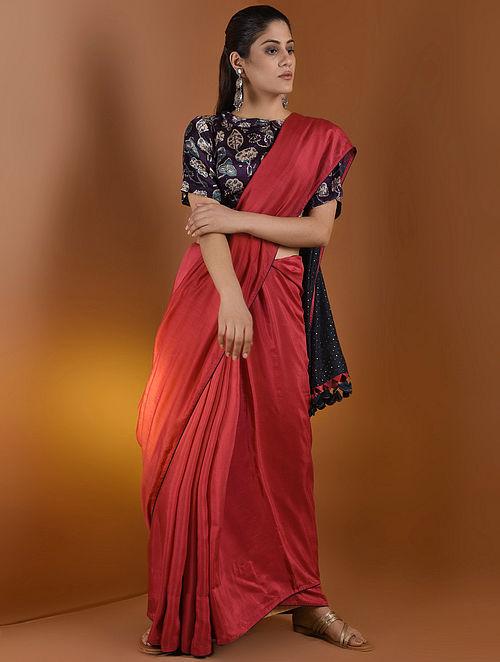 eb0b0eed74d28 Blouses Brown Beige Peterpan Collar Ajrakh Gajji Silk Blouse By