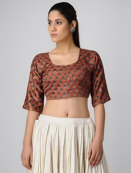 c0c6c14af9478 Buy Rust-Indigo Ajrakh Gajji Silk Blouse by Jaypore-S Online at ...